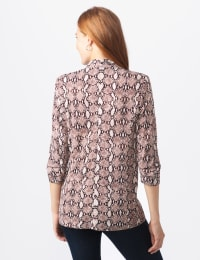 Printed Scuba Crepe Open Front Jacket - Cold Brew - Back