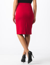 Pencil Skirt with Enamel Button Trim - True Crimson - Back