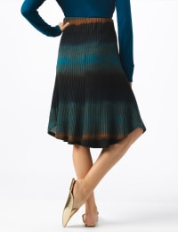 Dip Dye Rib Knit Pull On Skirt - Blue/Brown - Back