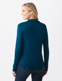 Rayon Span Pique Shirt - Misses - Texas Teal - Back