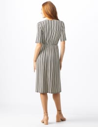 Wrap Striped Dress - Misses - Taupe - Back
