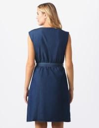 Denim Side Button Dress - Dark denim - Back