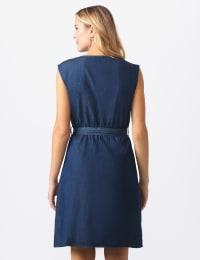 Denim Side Button Dress - Dark denim - Back