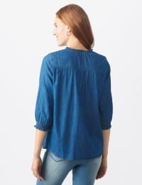 Denim Smock Neck Popover - Misses - Denim - Back