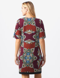 Border Sheath Dress - Sienna/Wine - Back