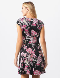 Floral Fit and Flare Dress - Misses - Black/pink multi - Back
