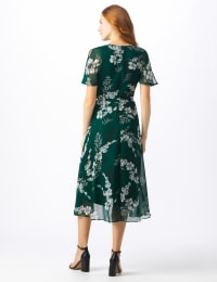 Floral Wrap Midi Dress - Misses - Hunter multi - Back