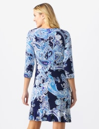 Paisley Flounce Hem Dress - Misses - Navy/Multi - Back