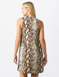 Animal A-Line Dress - Brown/Multi - Back