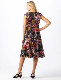 Rose Print Lace Dress - Misses - Black/coral - Back