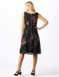 Floral Lace Fit and Flare Dress - Black/tangerine - Back