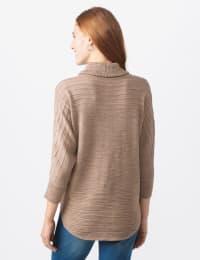 Westport Drape Neck Curved Hem Sweater - Biscotti - Back