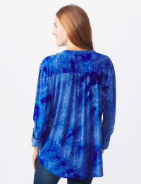 Sequin Blue Tie Dye Popover knit Top - BLUE - Back