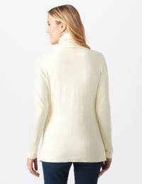Roz & Ali Cable Front Buckle Cardigan - Misses - Ivory - Back