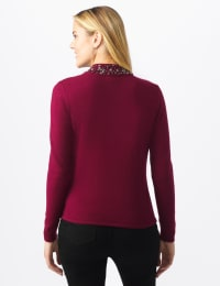Roz & Ali Jeweled Mock Neck Pullover Sweater - Plum Wine - Back