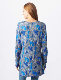 Roz & Ali Paisley Eyelash Tunic Sweater - Blue Multi - Back