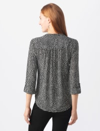 Roz & Ali Mixed Dot Pintuck Knit Popover - Misses - Black/White - Back