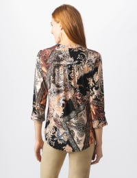 Roz & Ali Neutral Patchwork Pintuck Popover - Tan - Back