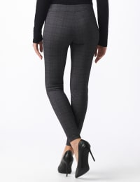 Pull On Plaid Pattern Compression Pant - Black/white/sand - Back