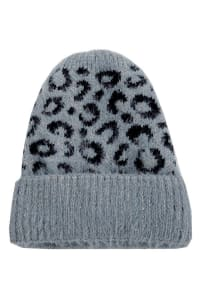 Leopard Print Soft Knitted Beanie - Gray - Back