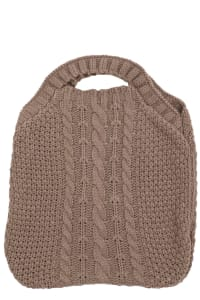 Cozy Crochet Knit Tote Bag - Taupe - Back