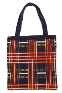 Plaid Knit Pattern Tote Bag - Multi - Back