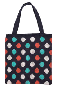 Polka Dot Knitted Tote Bag - Navy - Back