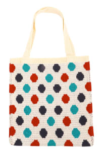 Polka Dot Knitted Tote Bag - Ivory - Back