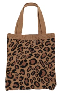 Leopard Print Pattern Knit Tote Bag - Brown - Back
