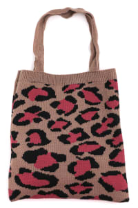 Leopard Print Pattern Knit Tote Bag - Taupe - Back