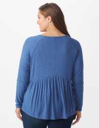 Pointelle V-Neck Knit Top - Plus - Denim - Back