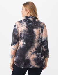 """""""Never Forget Your Modern Mask Top"""" Tie Dye Knit - Plus - Black - Back"""