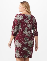 Robin  Floral Wrap Dress - Plus - Wine/taupe - Back