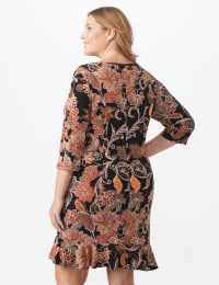 Scroll Floral Flounce Hem Dress - Plus - Rust/Black/Ivory - Back