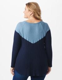 Denim Friendly Color Block Thermal Knit Top - Plus - Navy - Back