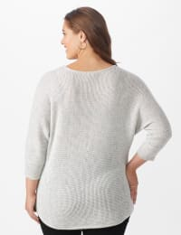 Westport Thermal Stitch Curved Hem Sweater - Plus - Fog Heather - Back