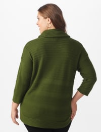 Westport Ottoman Stitch Curved Hem Sweater - Plus - Olive Vine - Back
