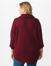 Westport Drape Neck Curved Hem Sweater - Plus - Bordeaux - Back