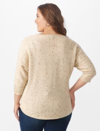 Westport Novelty Yarn Curved Hem Sweater - Plus - Bambi - Back