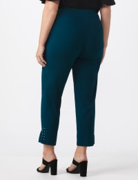Roz & Ali Solid Superstretch Tummy Panel Pull On Ankle Pants With Rivet Trim Bottom - Plus - teal - Back