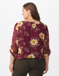 Roz & Ali Wine Floral Chain Bubble Hem Blouse - Plus - Wine - Back