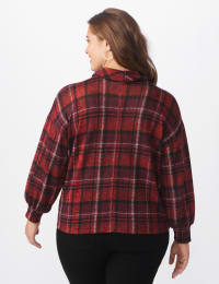 Red Plaid Hacci Sweater Knit Cowl Neck Top - Plus - Red - Back