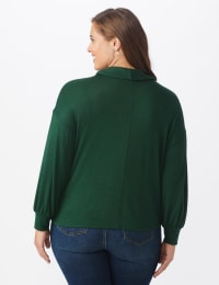 Sweater Knit Cowl Neck Top - Green - Back
