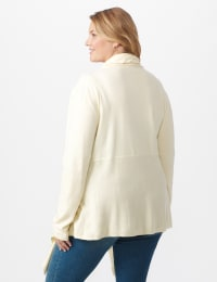 Roz & Ali Cable Front Buckle Cardigan - Plus - Heather Grey - Back