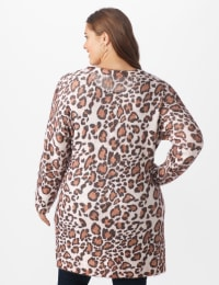 Roz & Ali Eyelash Animal Tunic Sweater - Plus - Multi - Back