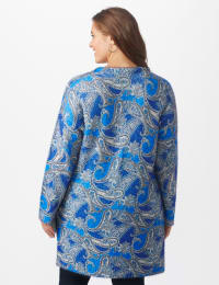 Roz & Ali Paisley Eyelash Tunic Sweater - Plus - Blue Multi - Back