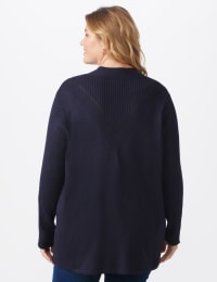 Roz & Ali Everyday Cardigan - Plus - Navy - Back