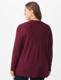 Roz & Ali Everyday Cardigan - Plus - Night Sangria - Back