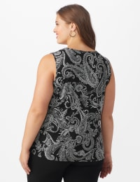 Westport Paisley Mesh Tiered Knit Top - Plus - Black - Back