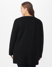 Roz & Ali Inner Beauty Coatigan Sweater  - Plus - Black/Heather Grey - Back